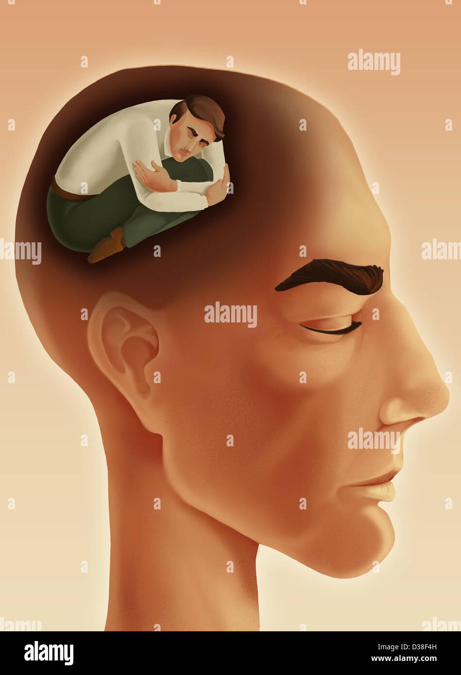 Anschauliches Bild von nachdenklicher Mann mit Augen geschlossen vertreten introvertierte Persönlichkeit Stockfoto