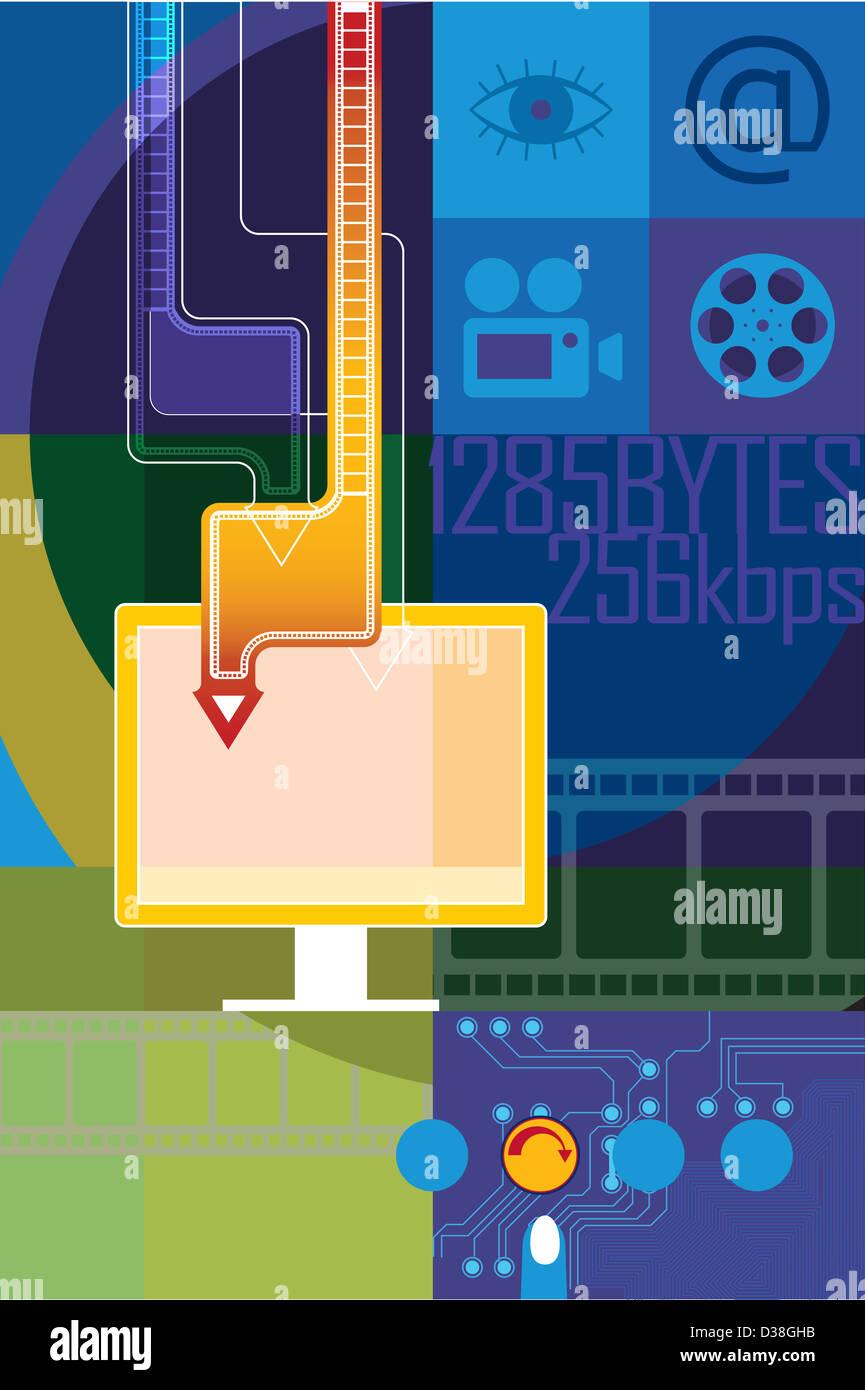 Video auf einem Computer heruntergeladen werden Stockbild