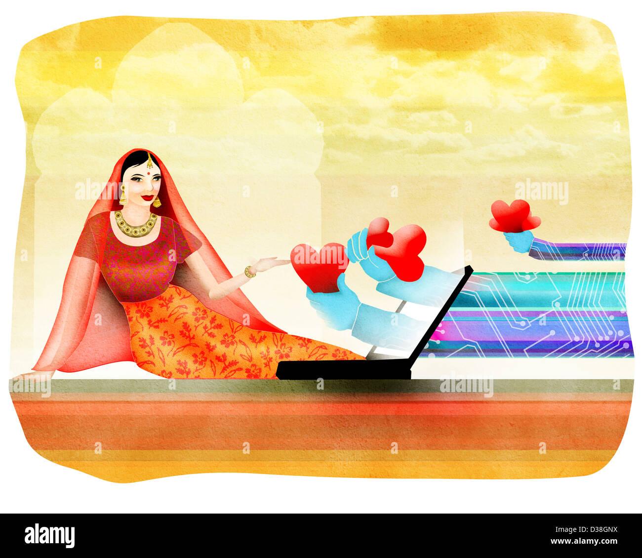 Frau Heiratsanträge über das Internet empfangen Stockbild