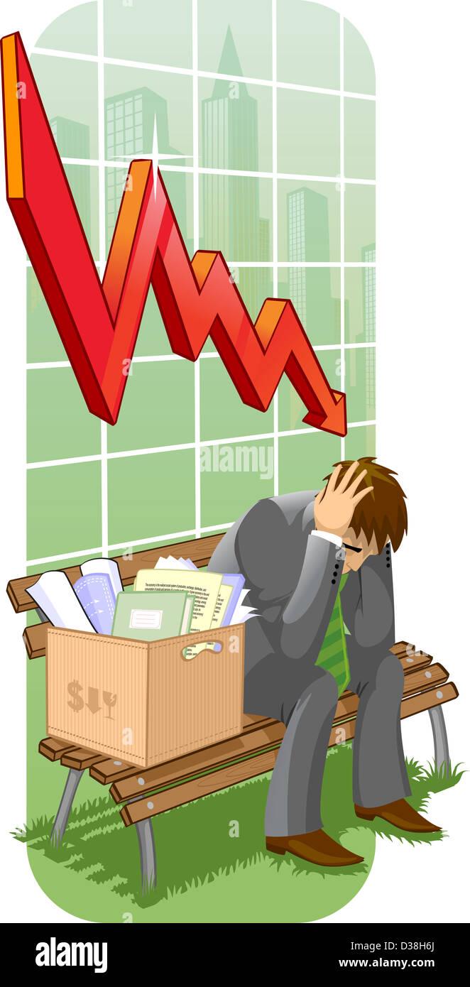Geschäftsmann, sitzen mit seinen Habseligkeiten auf einer Bank vor einem abwärts Liniendiagramm Stockbild