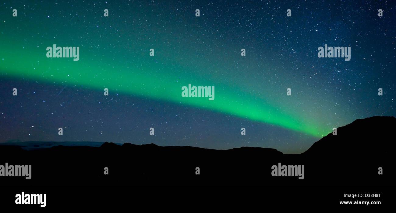 Nordlichter am Nachthimmel Stockbild