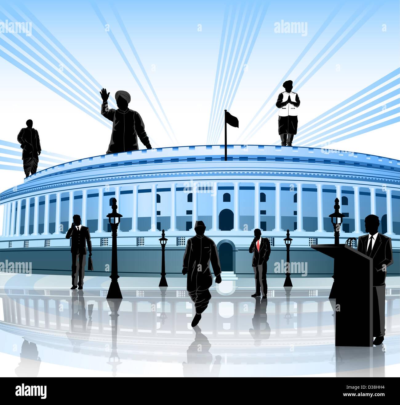 Politische Führer um ein Regierungsgebäude, Sansad Bhawan, New Delhi, Indien Stockbild
