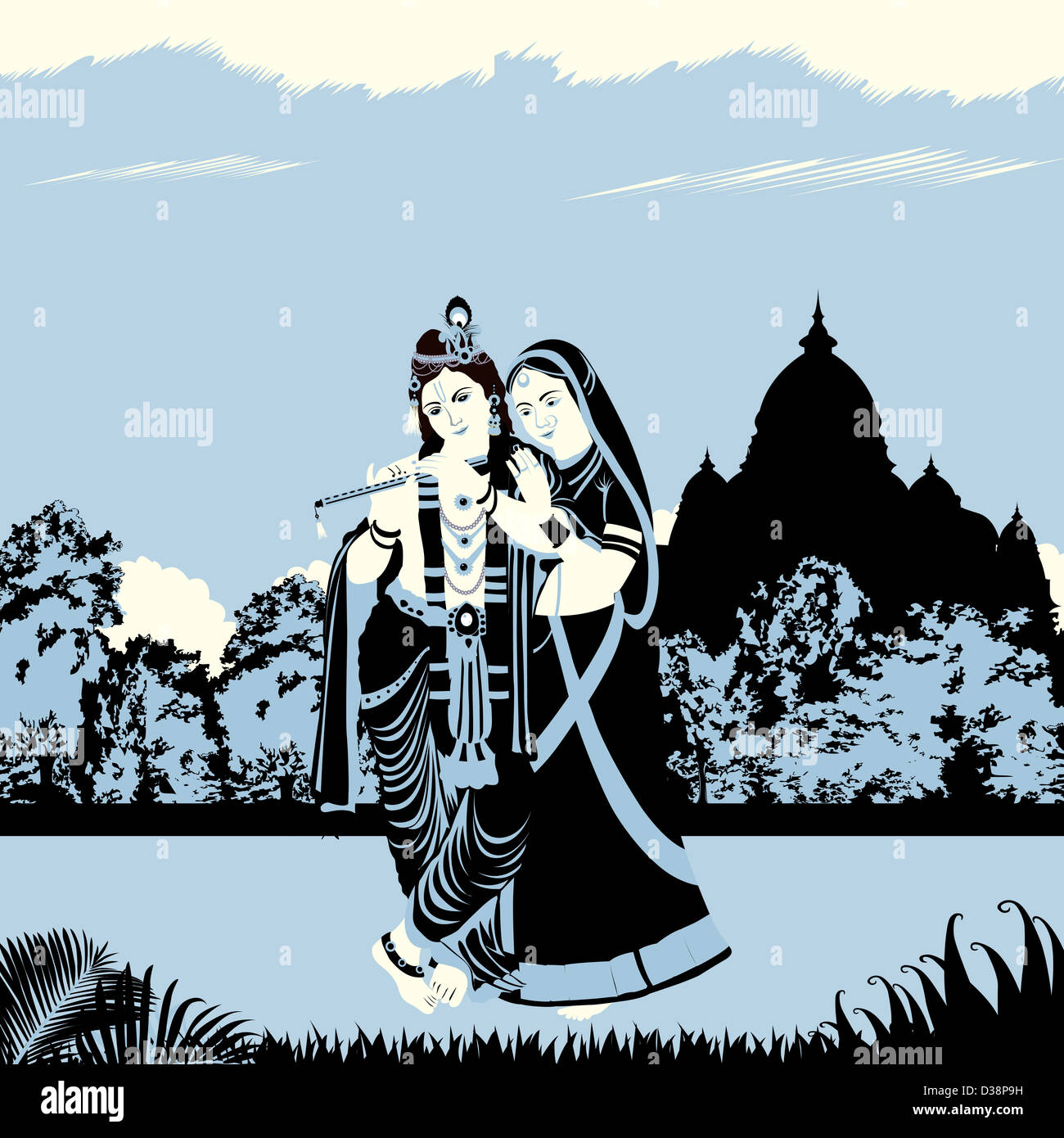Lord Krishna mit Göttin Radha Stockbild