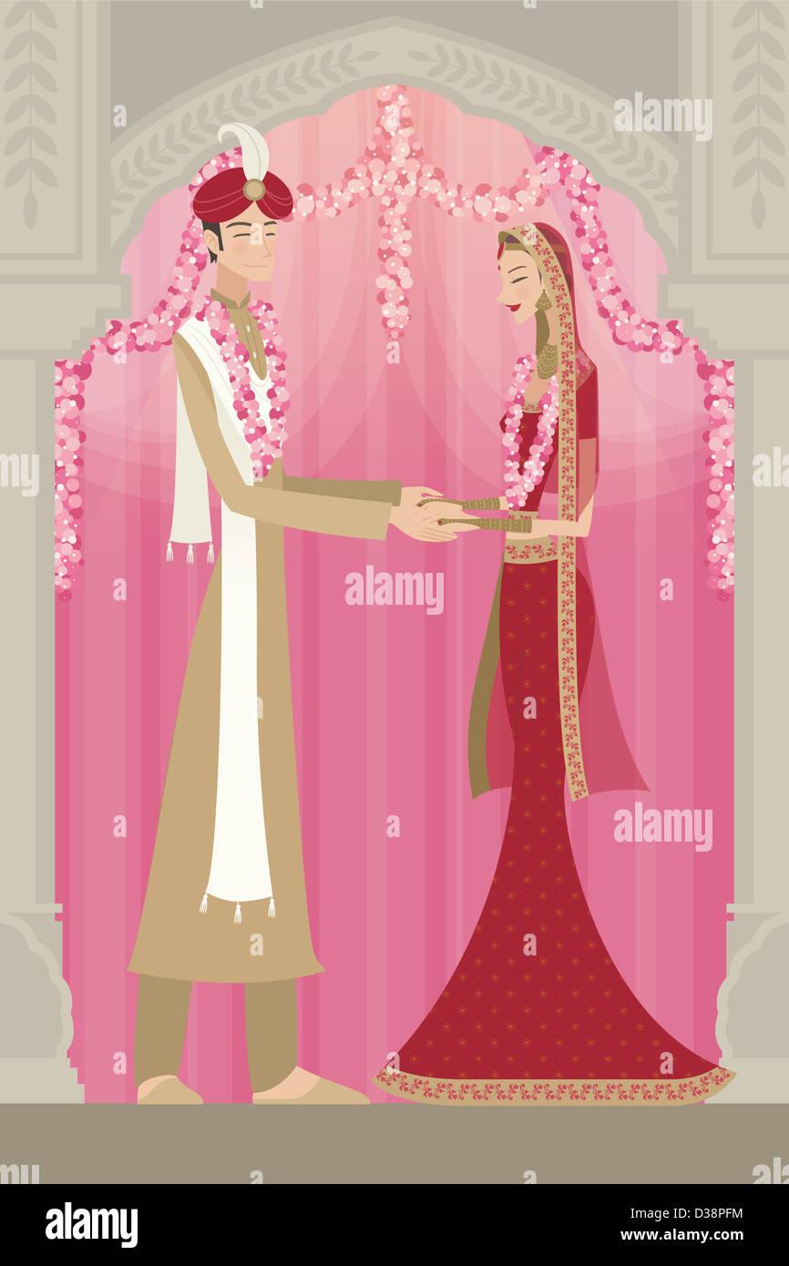 Indische Braut und Bräutigam in traditioneller Kleidung bei Trauung Stockbild