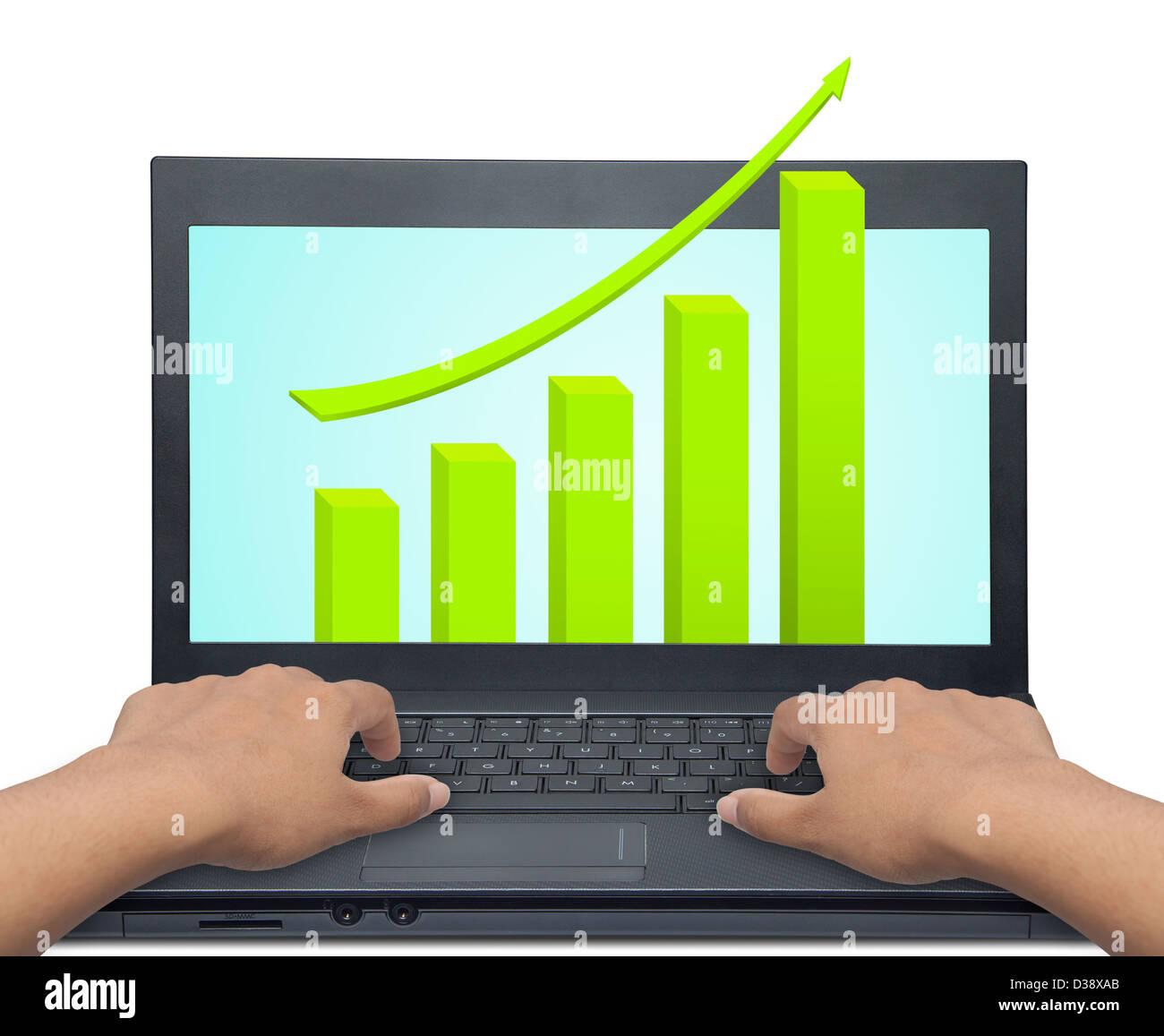 Laptop mit Geschäfts- oder Gewinne Wachstum Diagramm Stockbild