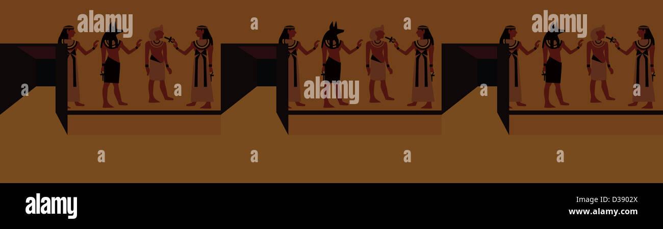 Alte ägyptische Malerei Stockbild