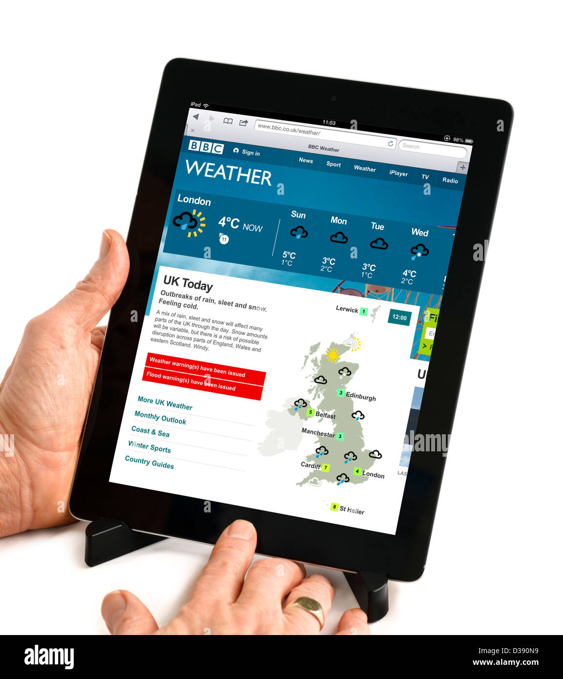 Website der BBC Wetter auf eine 4. Generation Apple iPad Tablet-Computer angezeigt Stockbild
