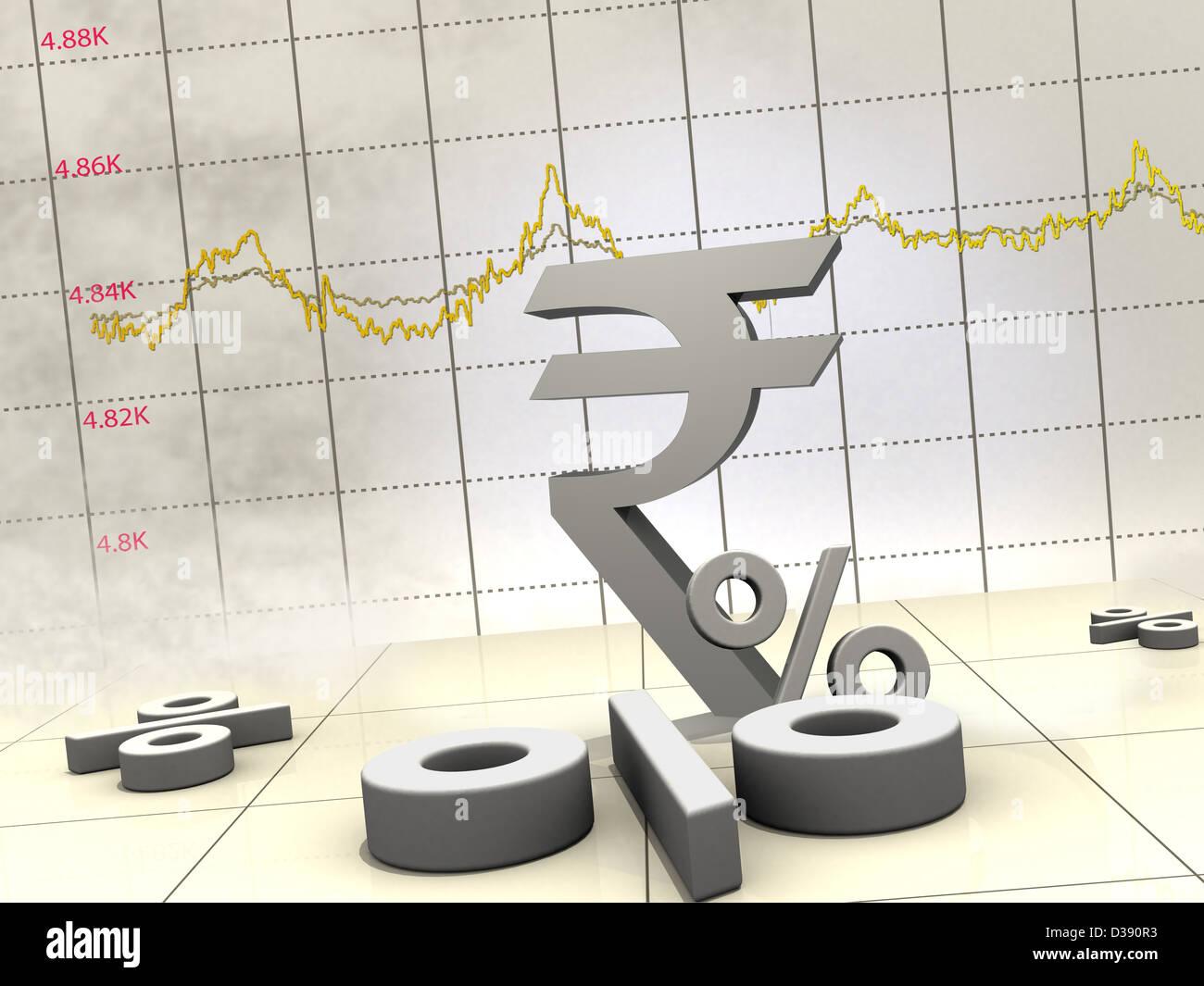 Indische Währungssymbol mit Liniendiagramm Stockfoto, Bild: 53673287 ...