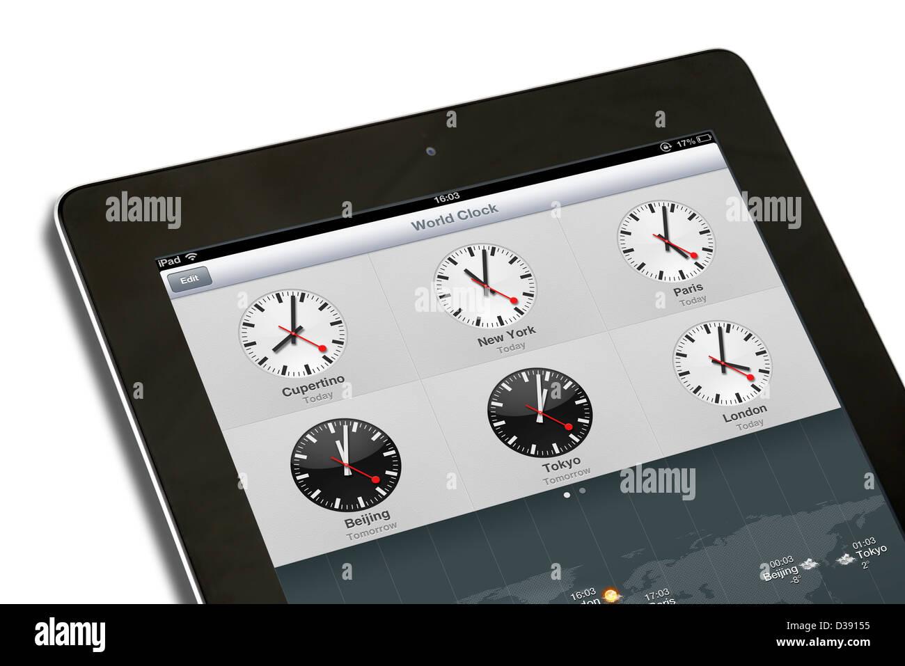 Die Weltzeituhr auf eine 4. Generation Apple iPad Tablet-computer Stockbild