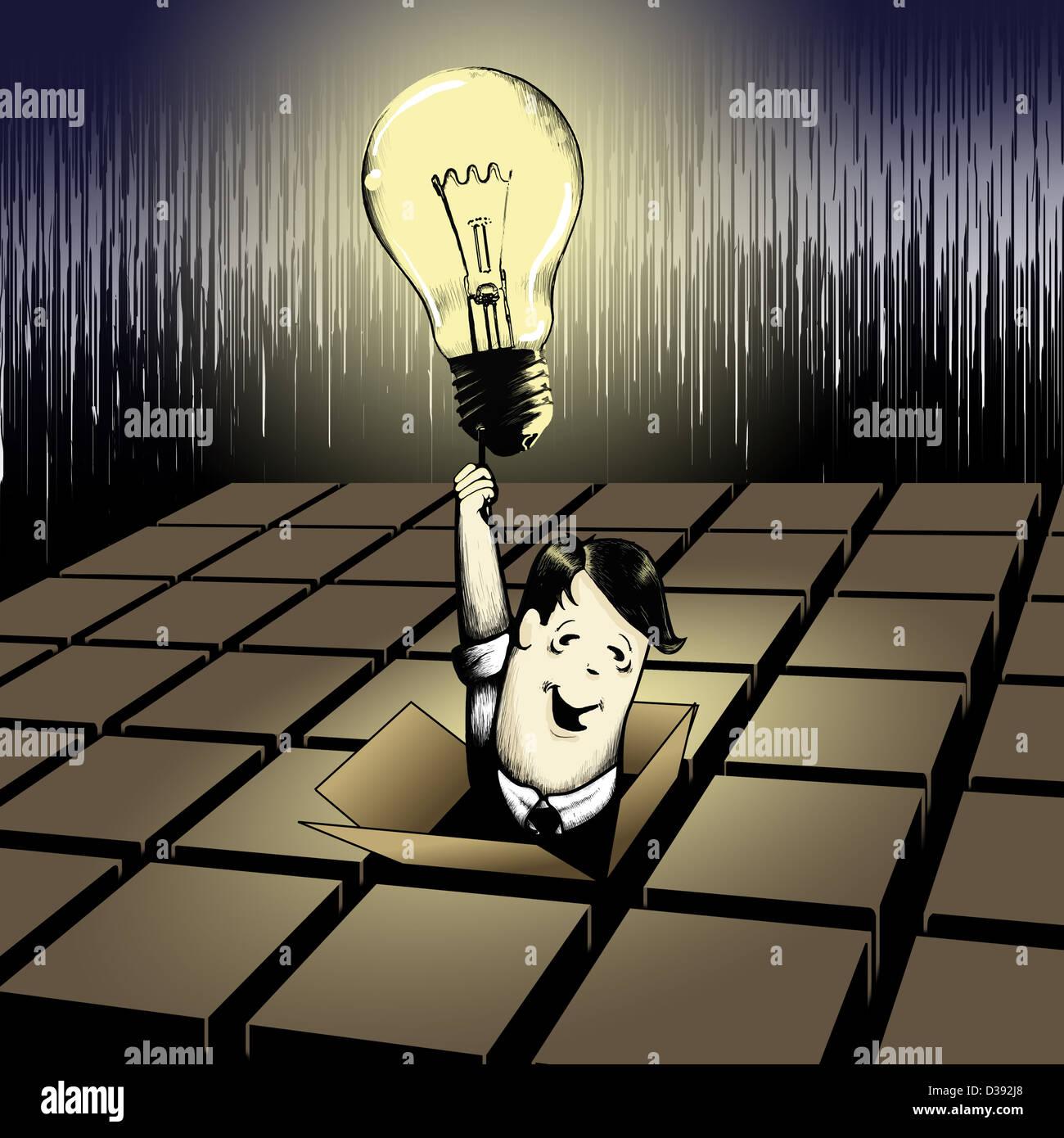 Mann aus einer Box mit einer Glühbirne Stockfoto