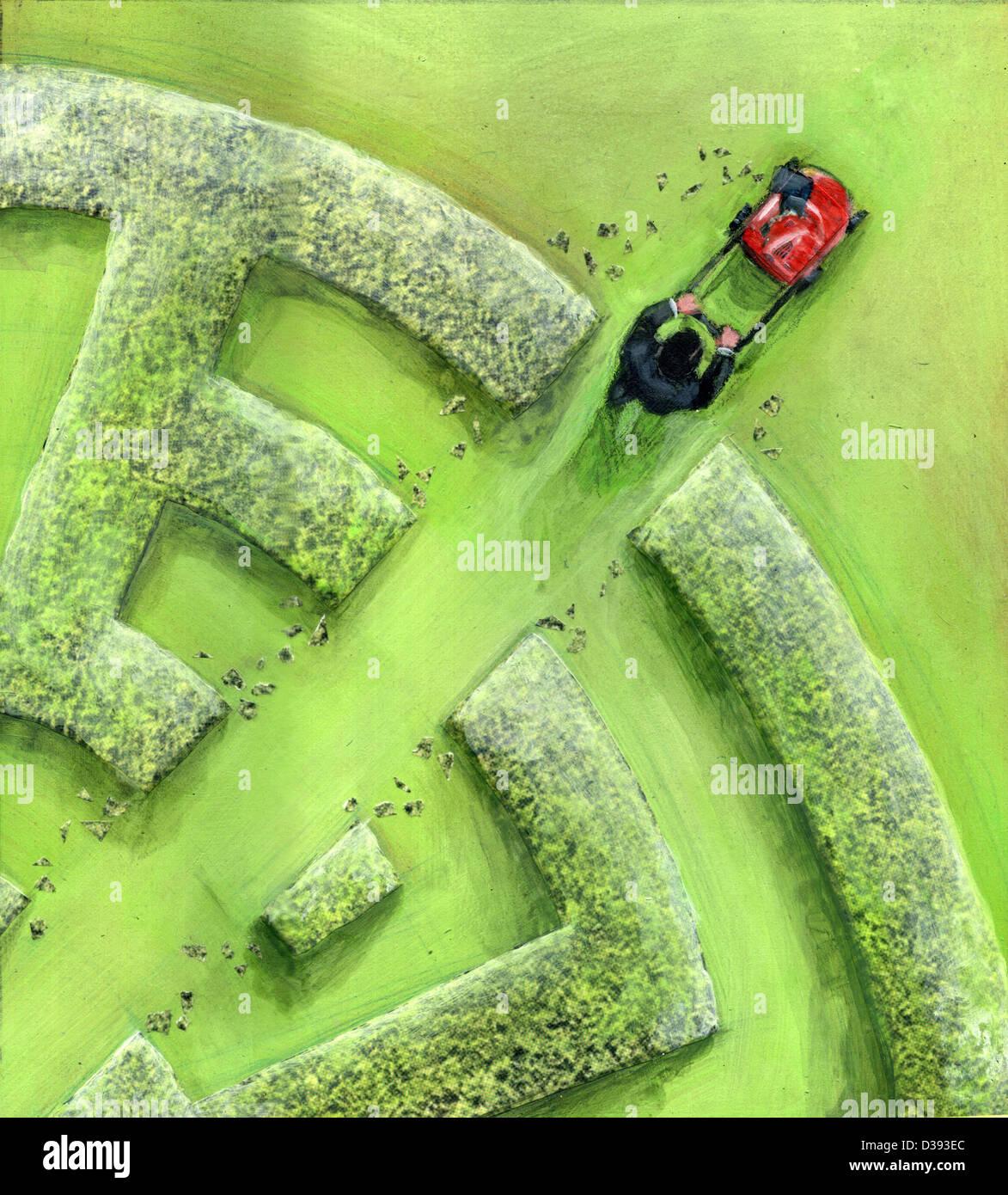 Geschäftsmann brechen Labyrinth von einem Rasenmäher Stockbild