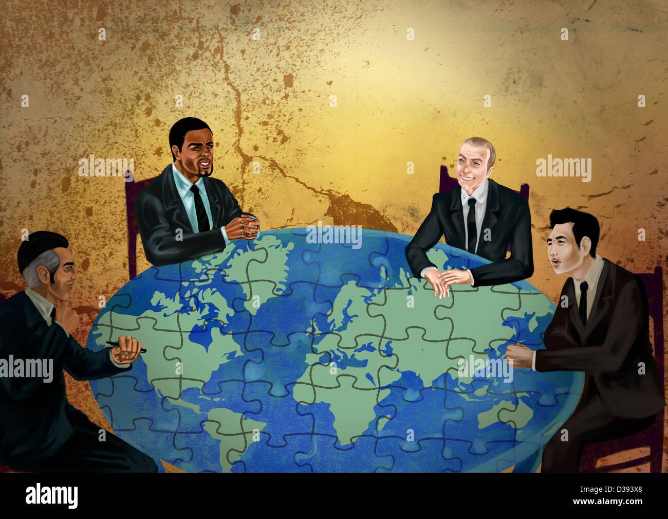 Unternehmer diskutieren über globales Geschäft Stockbild