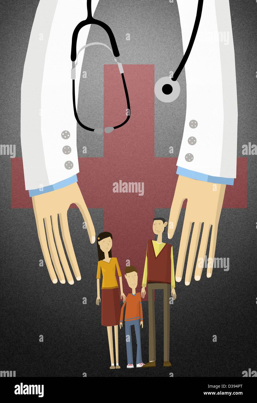 Illustrierte Schuss einer Familie durch die Krankenversicherung abgedeckt Stockbild