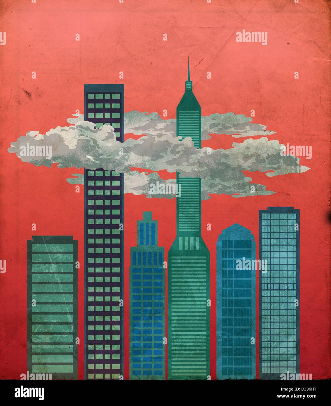 Anschauliches Bild des Finanzviertels von Stockbild