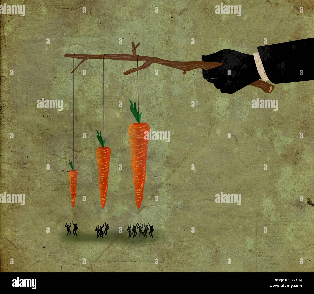 Illustrative Schuss von Geschäftsleuten, die springen für Karotte Wettbewerb für Anreiz darstellt Stockbild