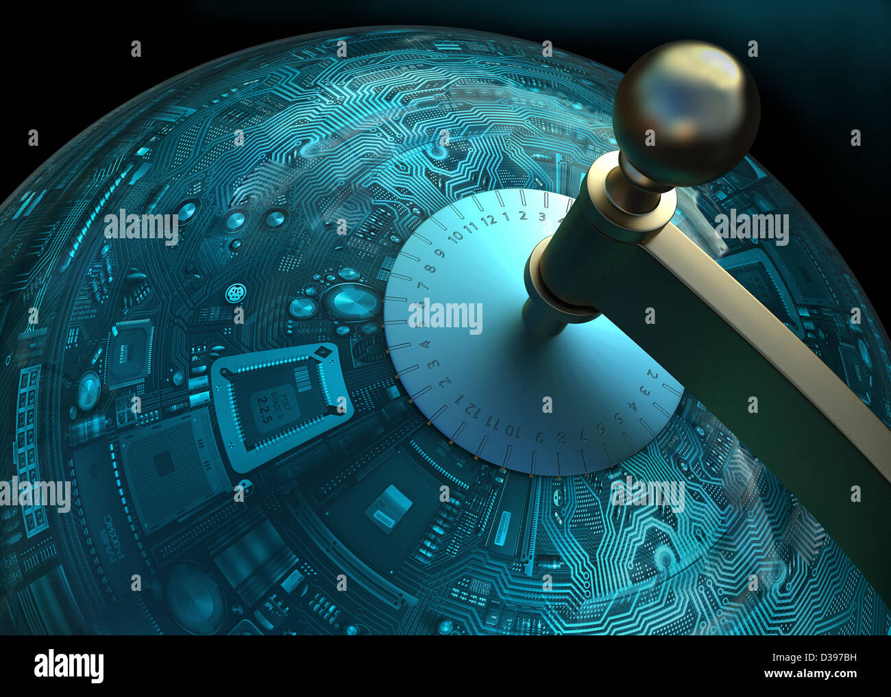 Konzeptbild Leiterplatte in Kugel Form Darstellung Globalisierung der Technologie Stockbild