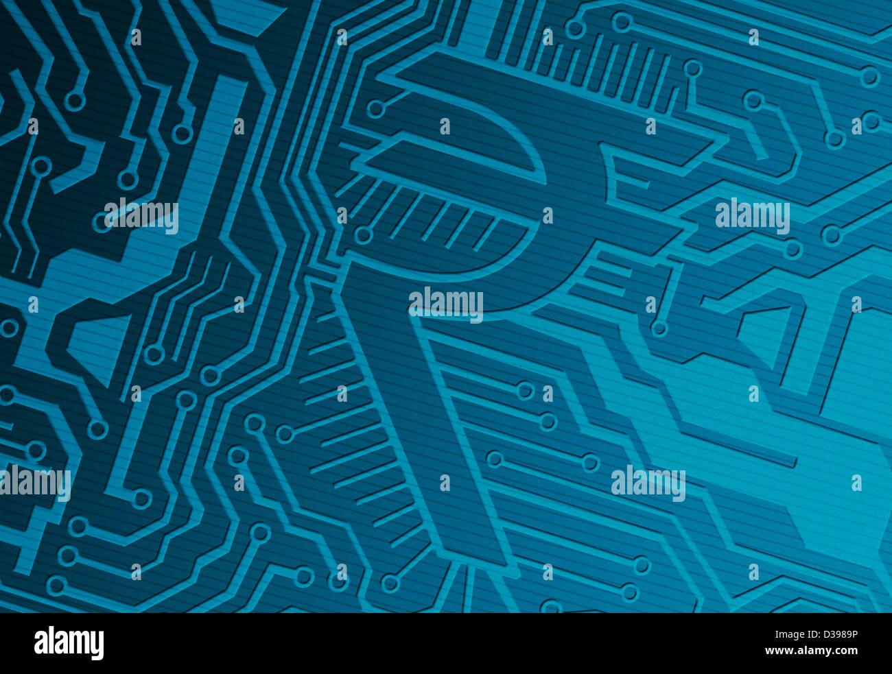 Blaue Computer-Platine mit Rupie-Symbol repräsentiert Industrie Stockbild