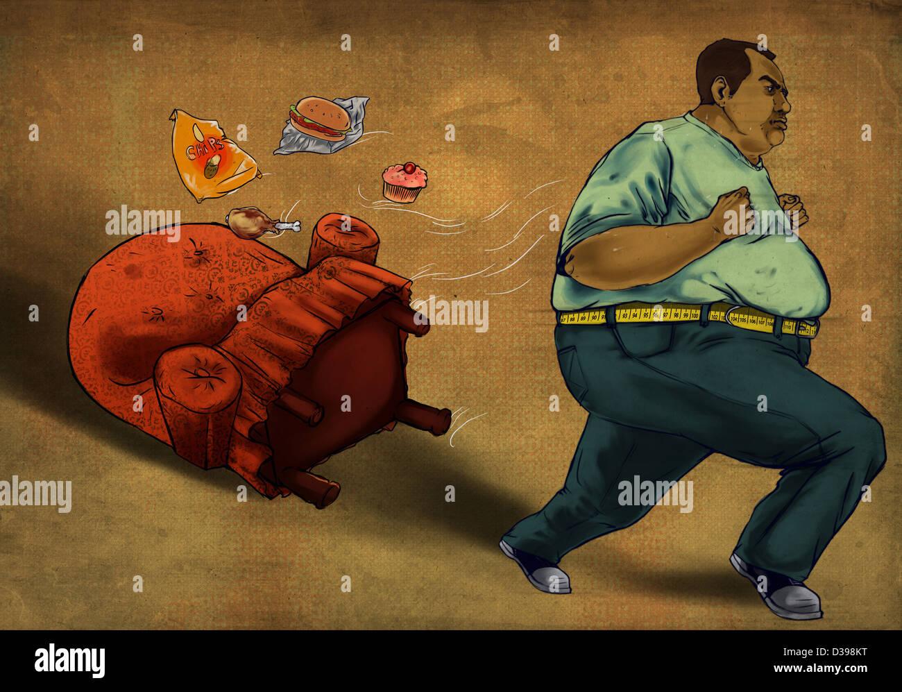 Übergewichtigen Mann läuft mit Lebensmittel und Sessel über farbigen Hintergrund zeigt das Konzept Stockbild