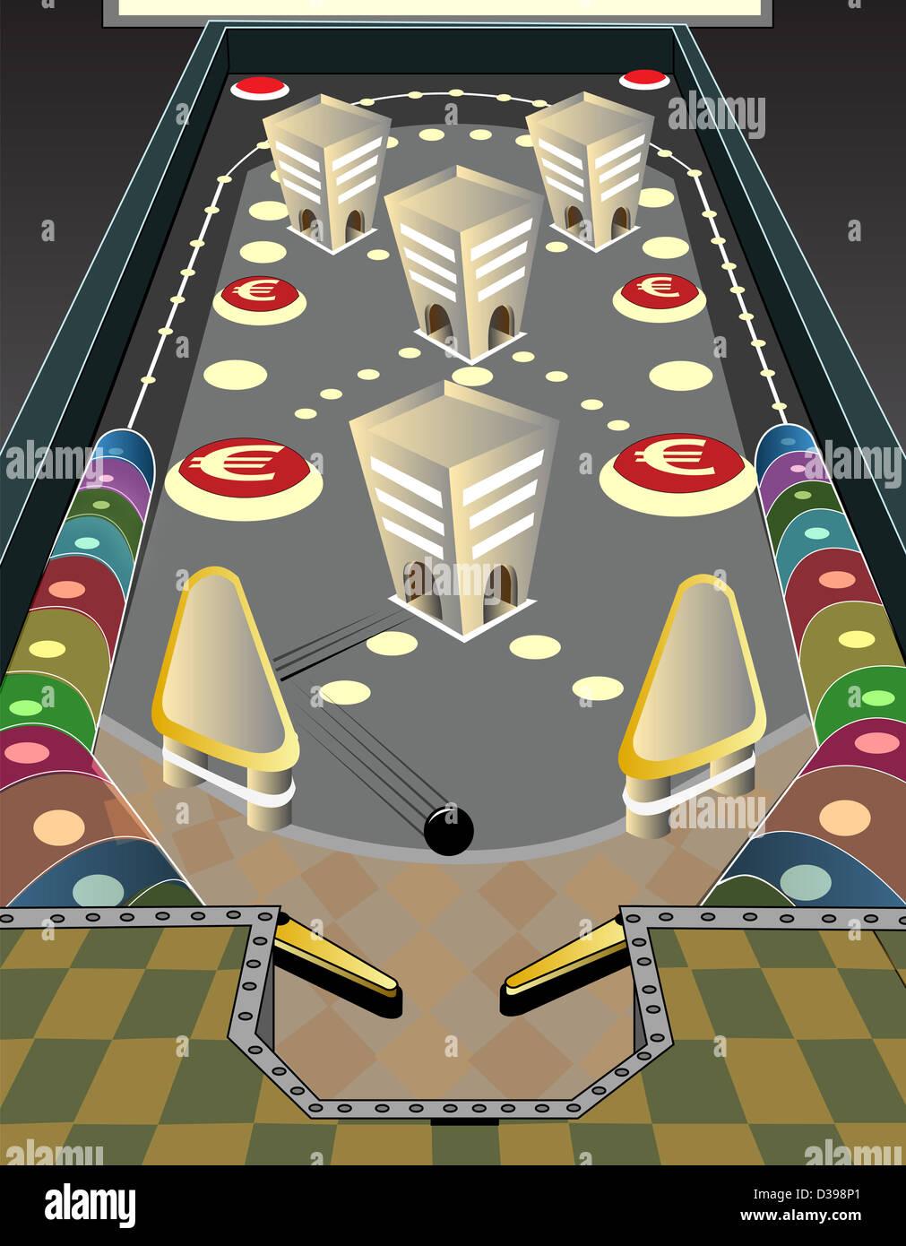 Spiel von Flipper mit Eurozeichen Darstellung das Konzept des Business gaming Stockbild