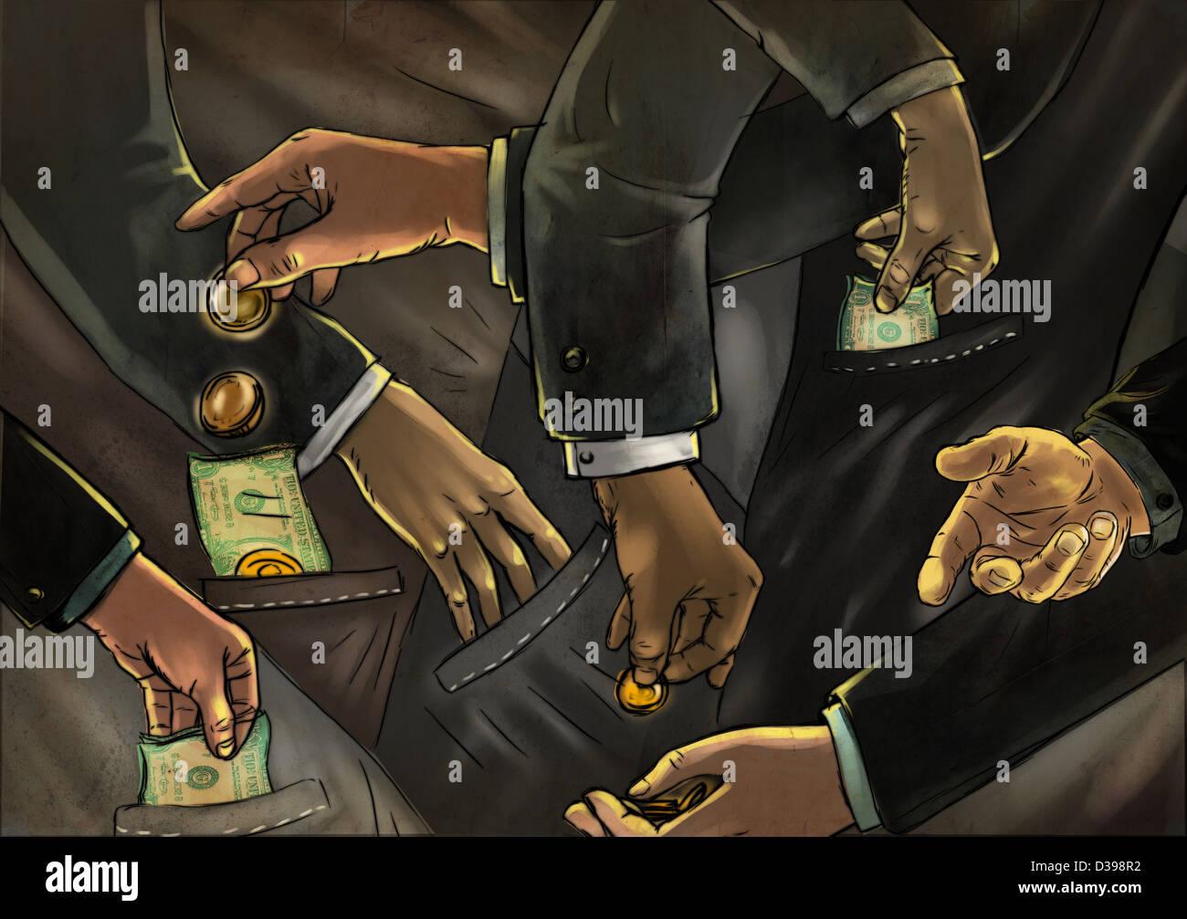 Anschauliches Bild von Geschäftsleuten, die Austausch von Geld, Betrug darstellt Stockbild