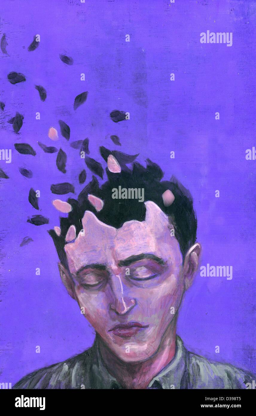 Anschauliches Bild des Mannes mit verstreuten Kopf Vertretung der Alzheimer-Krankheit Stockbild