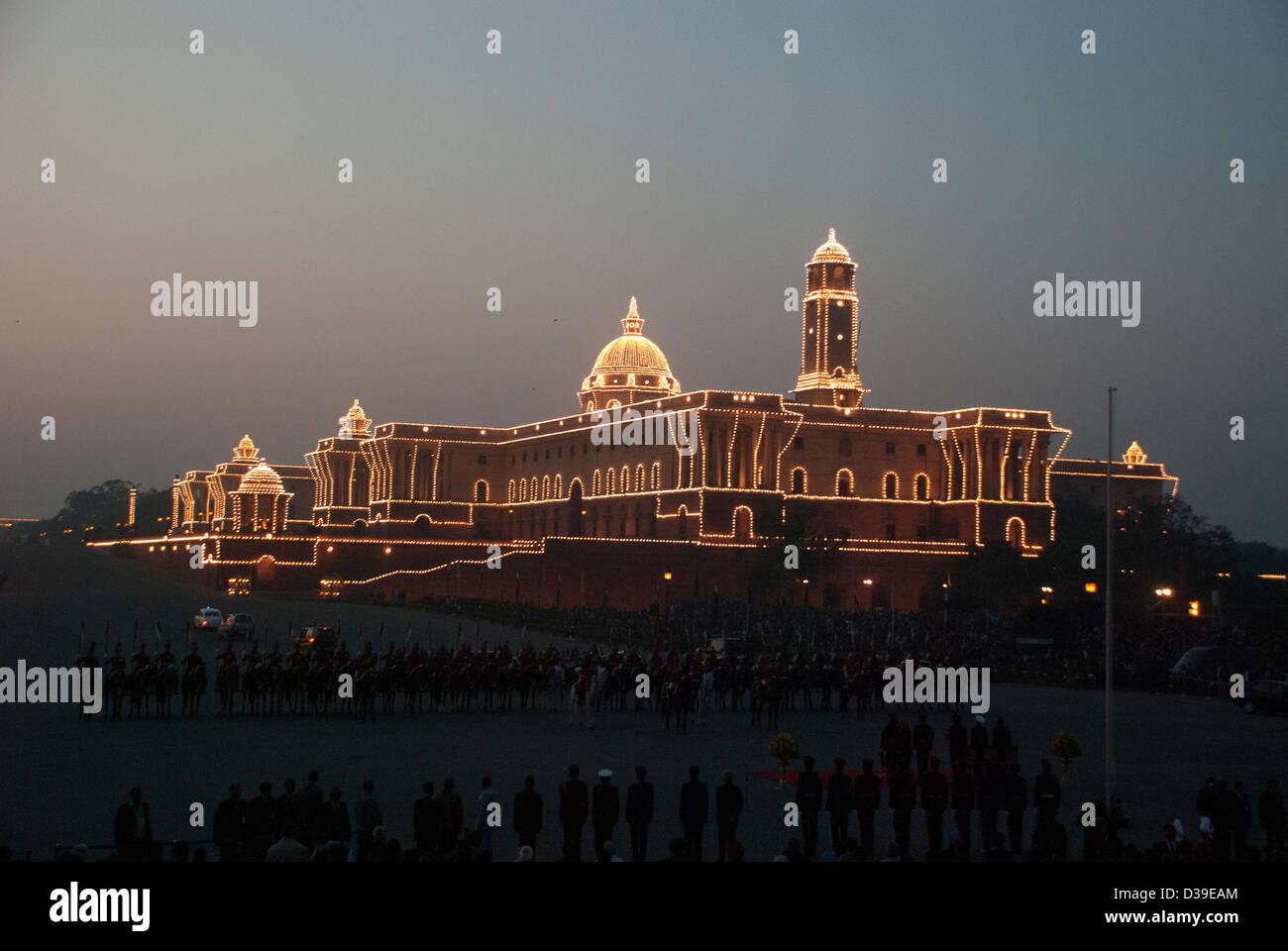 Beleuchtung bei North Block, Neu-Delhi, Indien. Stockbild