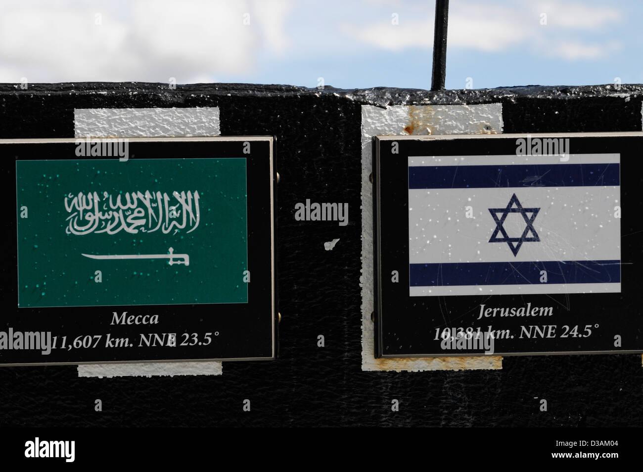 Zeichen, die Entfernung nach Mekka Jerusalem vom Sulphur Mountain Banff Nationalpark Tourismus Tourist Punkt von Stockbild