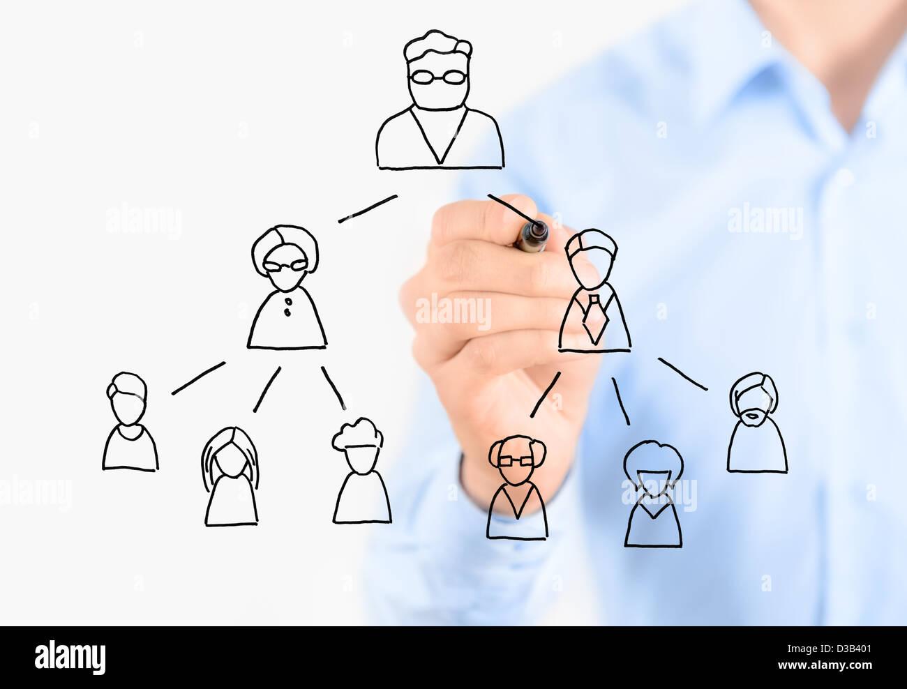 Geschäftsmann zeichnen Multi Level Marketing-System. Isoliert auf weiss. Stockfoto