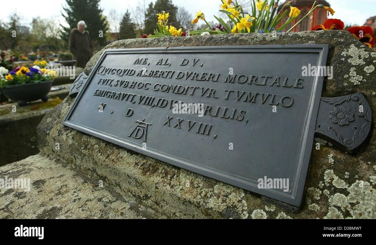 (Dpa) - das Grab des deutschen Künstlers Albrecht Duerer auf dem Johannis-Friedhof in Nürnberg, 3. April Stockbild