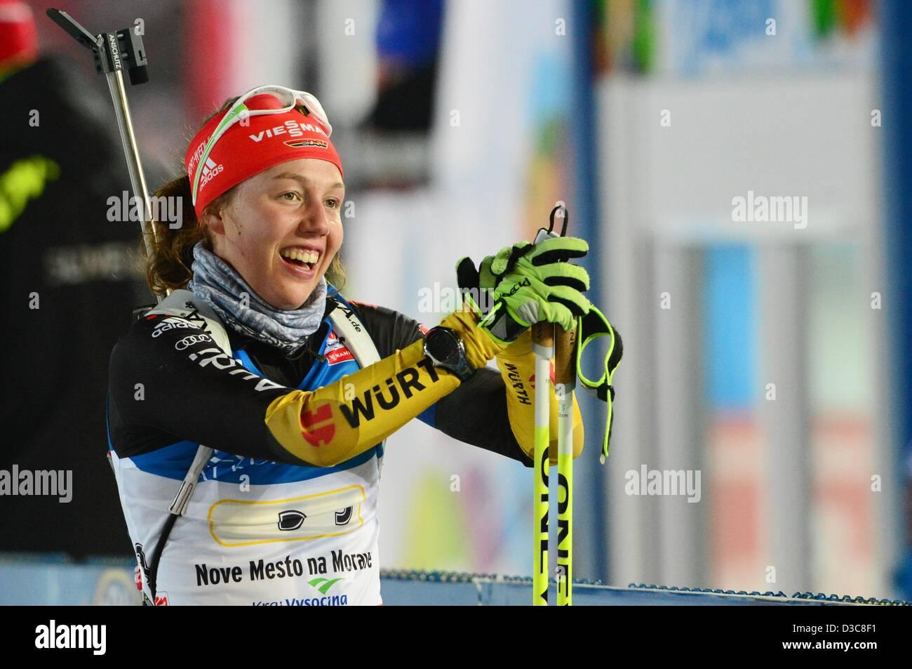 Laura Dahlmeier Deutschlands im Wettbewerb bei den Frauen 4 x 6-km-Staffel bei den Biathlon-Weltmeisterschaften Stockbild