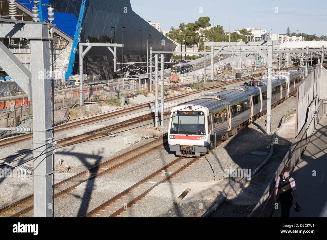 Zug, Infrastruktur und Umgebungskonstruktion arbeiten in Perth, Western Australia. Stockbild