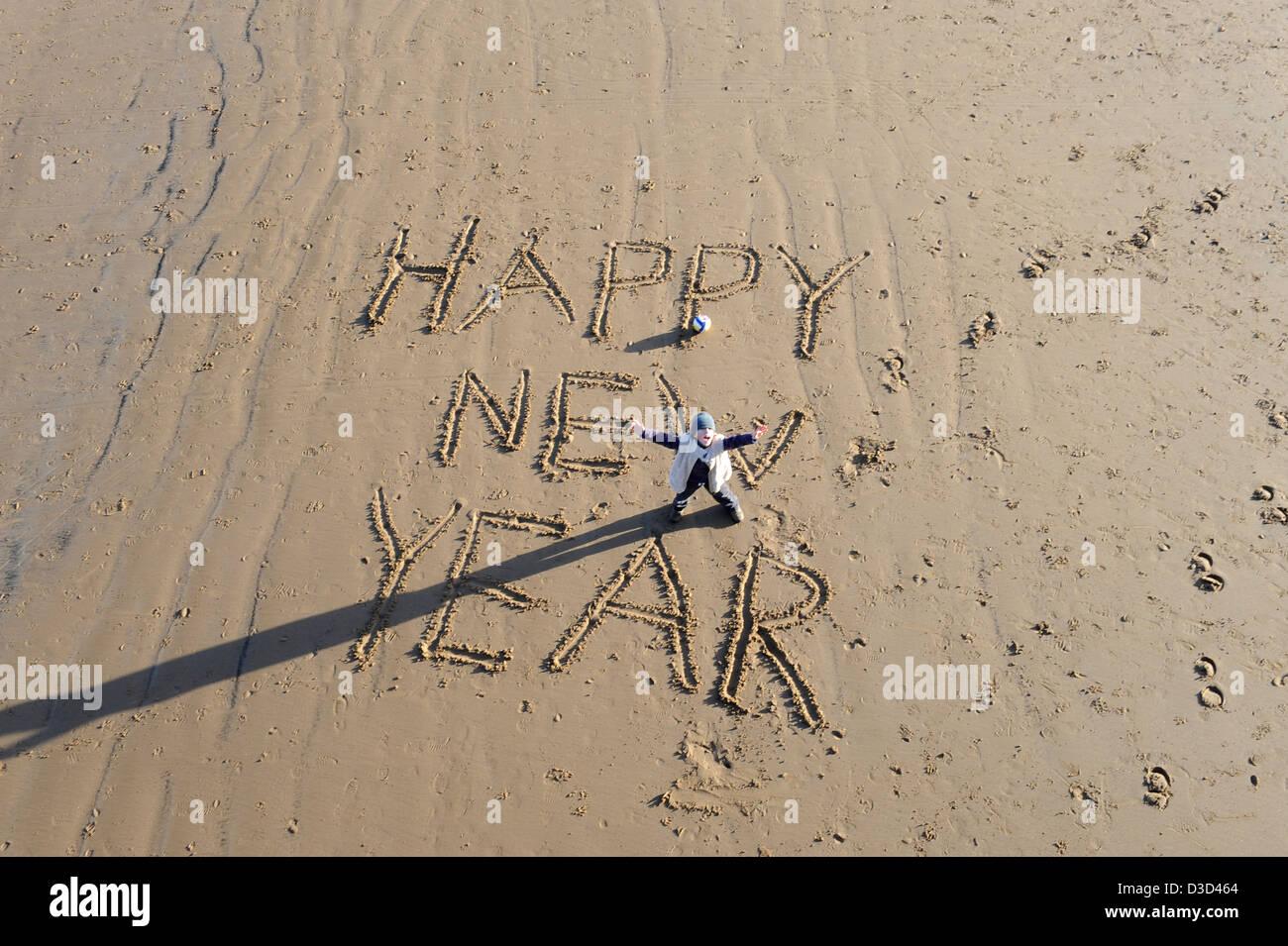 Congratulations Message Written Sand Background Stockfotos ...