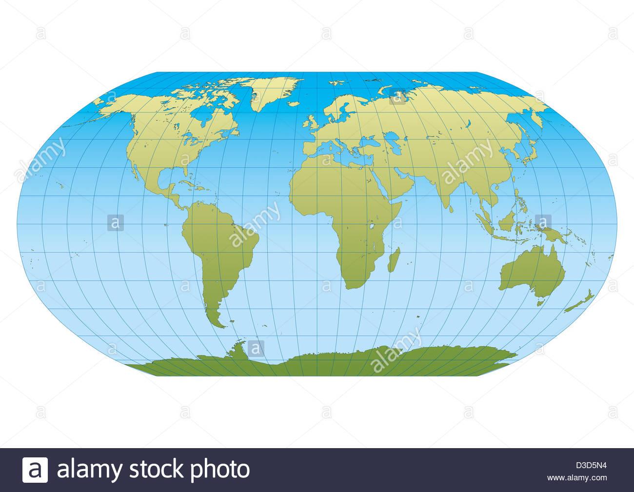 weltkarte mit gradnetz Weltkarte in Robinson Projektion mit Gradnetz. Zentriert in Europa  weltkarte mit gradnetz