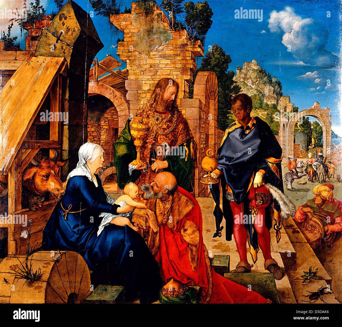 Albrecht Dürer, Anbetung der Heiligen drei Könige 1504 Öl auf Holz. Uffizien, Florenz Stockbild