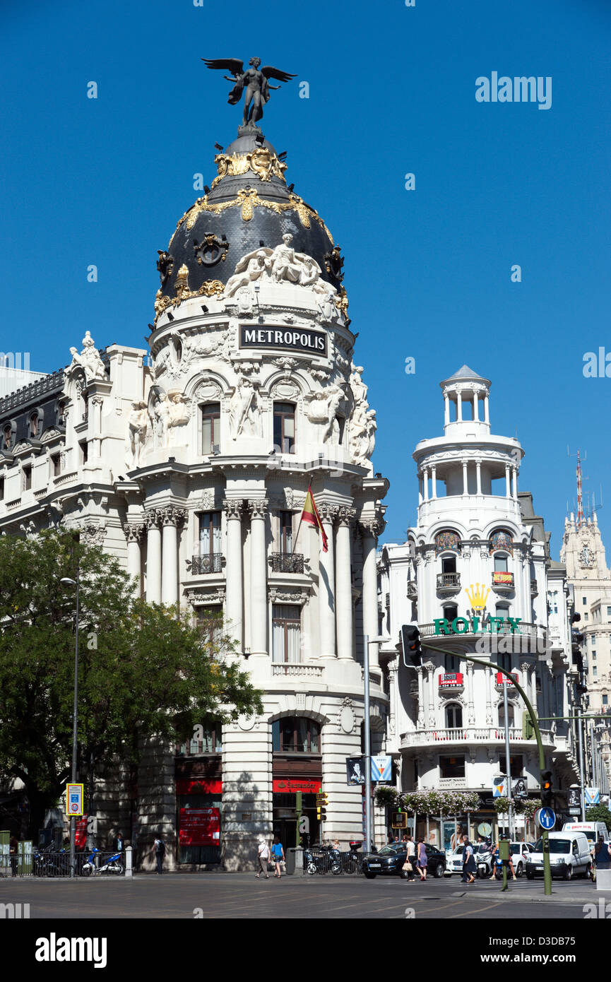 Metropole, die Gebäude an der Ecke Calle de Alcalá und Gran Via, Madrid, Spanien Stockbild