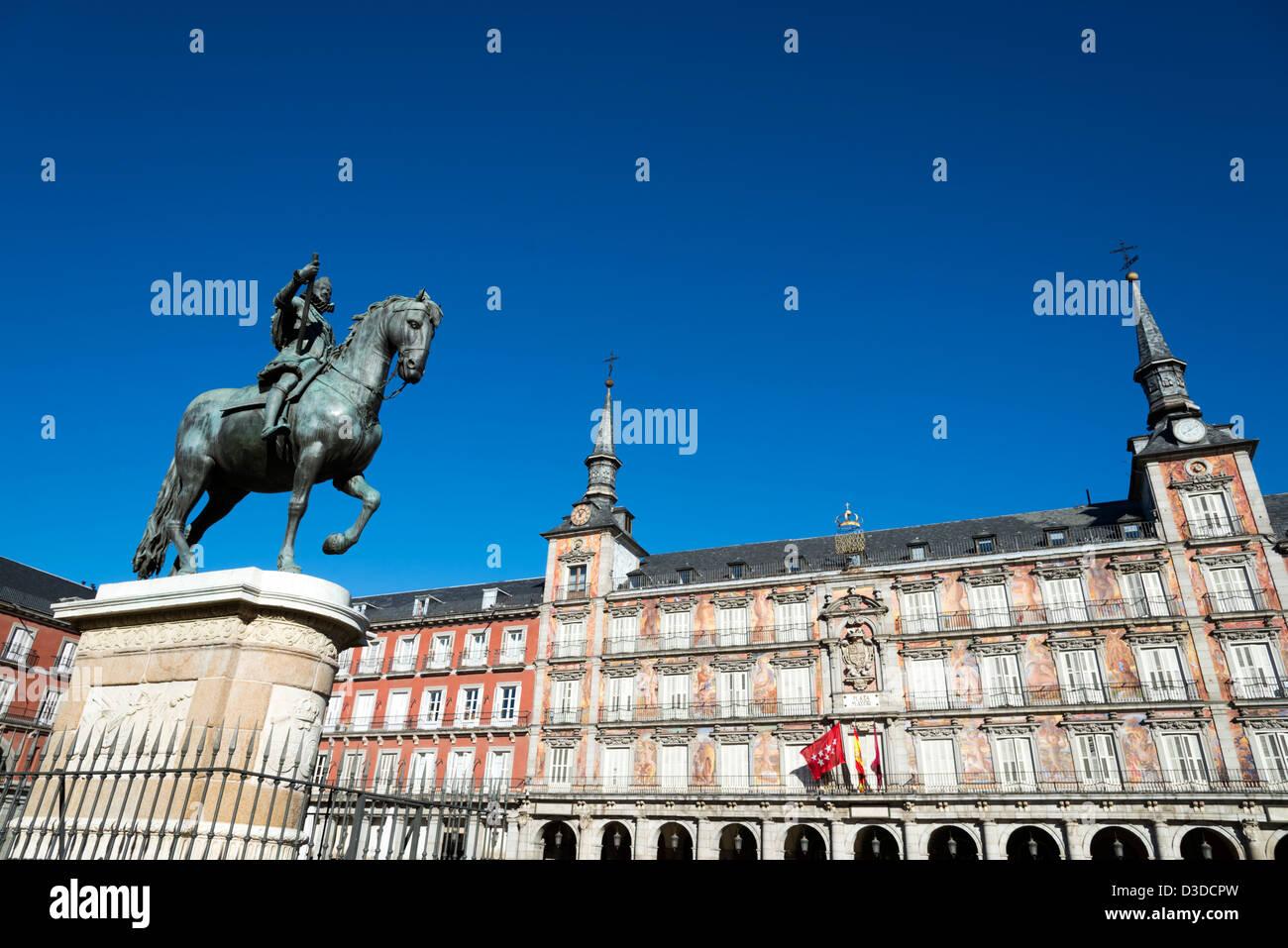 Reiterstandbild von Philipp III. auf der Plaza Mayor, Madrid, Spanien Stockbild