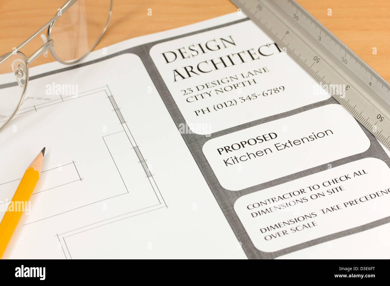 Architekten-Pläne für neue Küche Stockbild