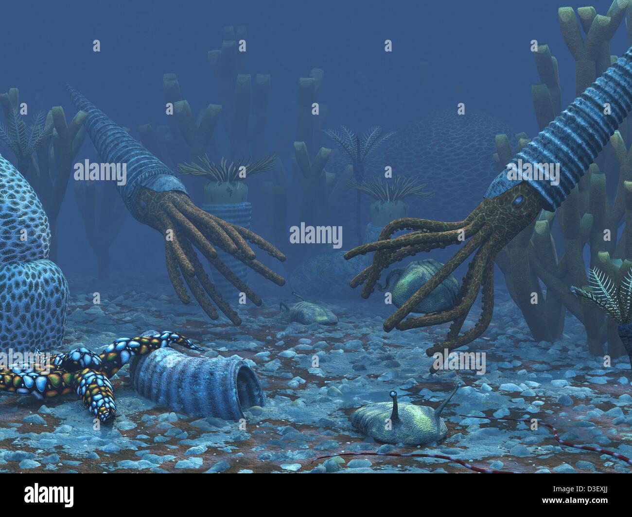 Tintenfisch-wie Orthoceratites versuchen, der Trilobiten zubereiten. Stockbild