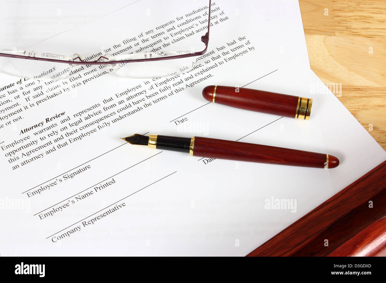 Business Objekte Vollzeit Arbeitsvertrag Bereit Mit