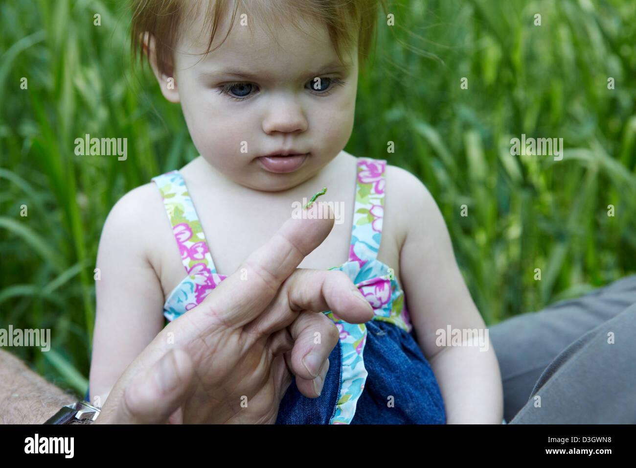 1 Jahr altes, ein Mädchen schaut grüne Raupe Stockbild