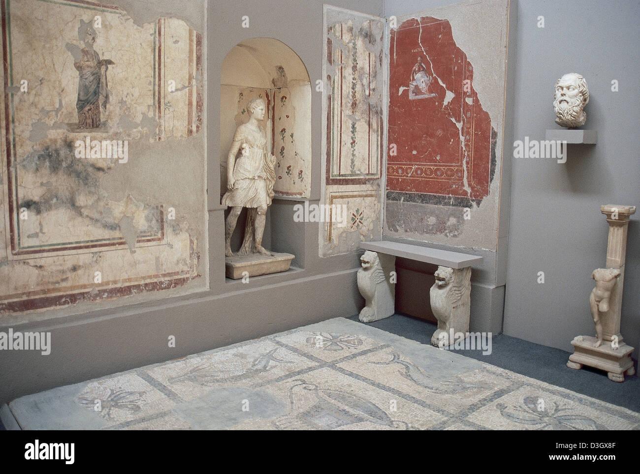 Wiederaufbau des Hauses des Sokrates (469-399 v. Chr.), griechischer Philosoph. Ephesus Museum. Selcuk. Turkei. Stockbild