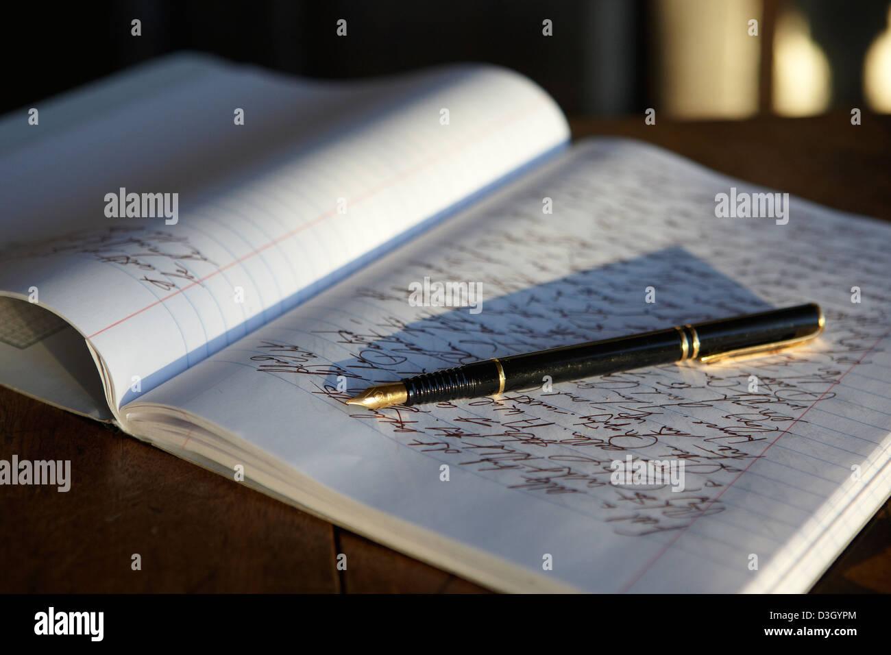 Open Sie Journal Notebook und Füllfederhalter Stockfoto