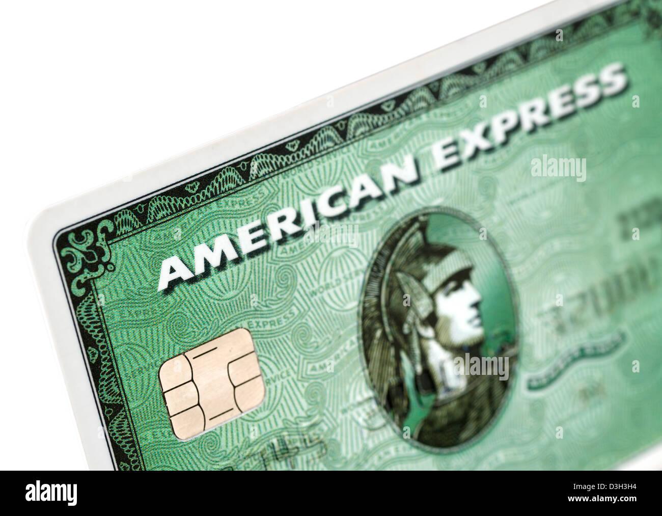 Klassische grüne kostenlos Kreditkarten von American Express Stockfoto