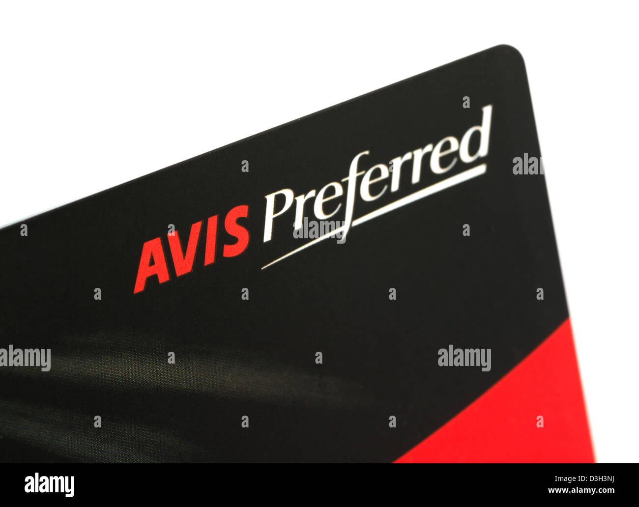 AVIS Preferred Karte Stockbild