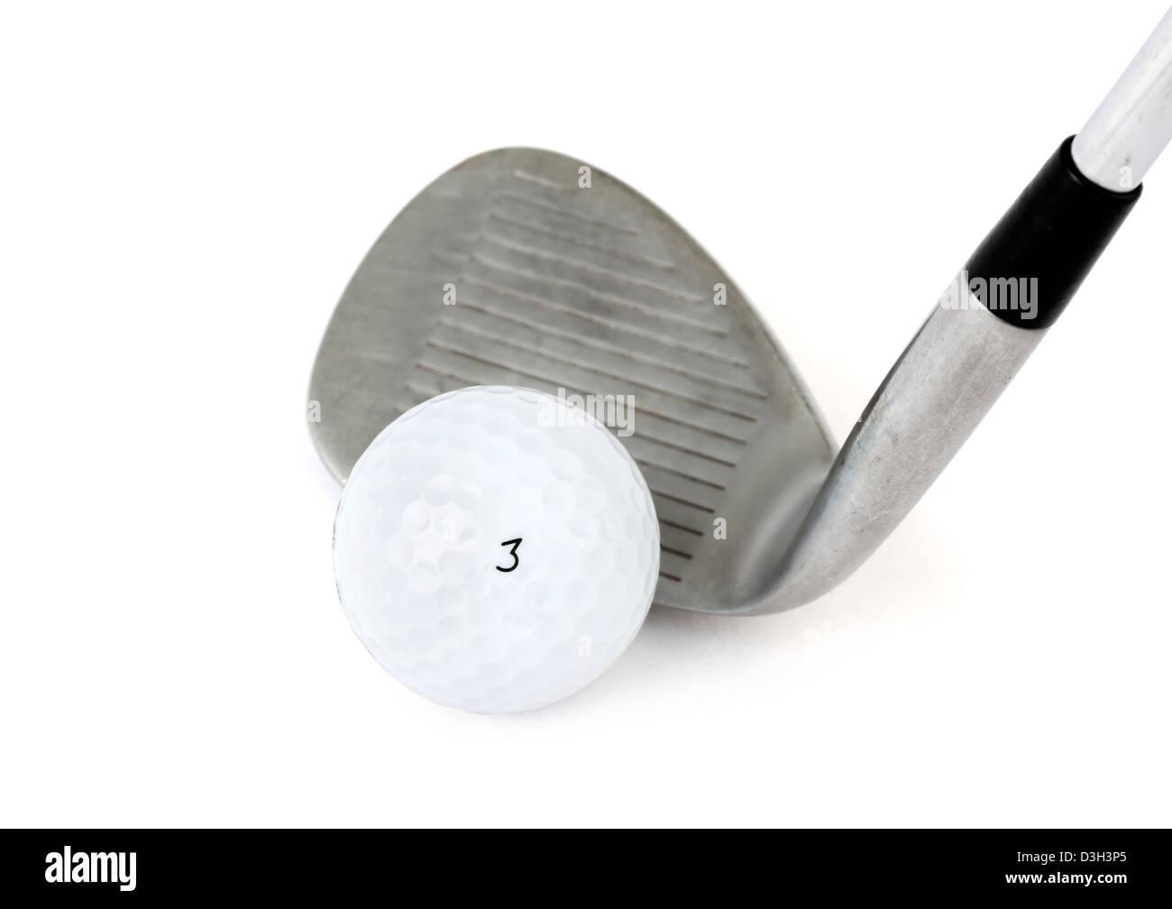 Golfball und Golfschläger Stockbild
