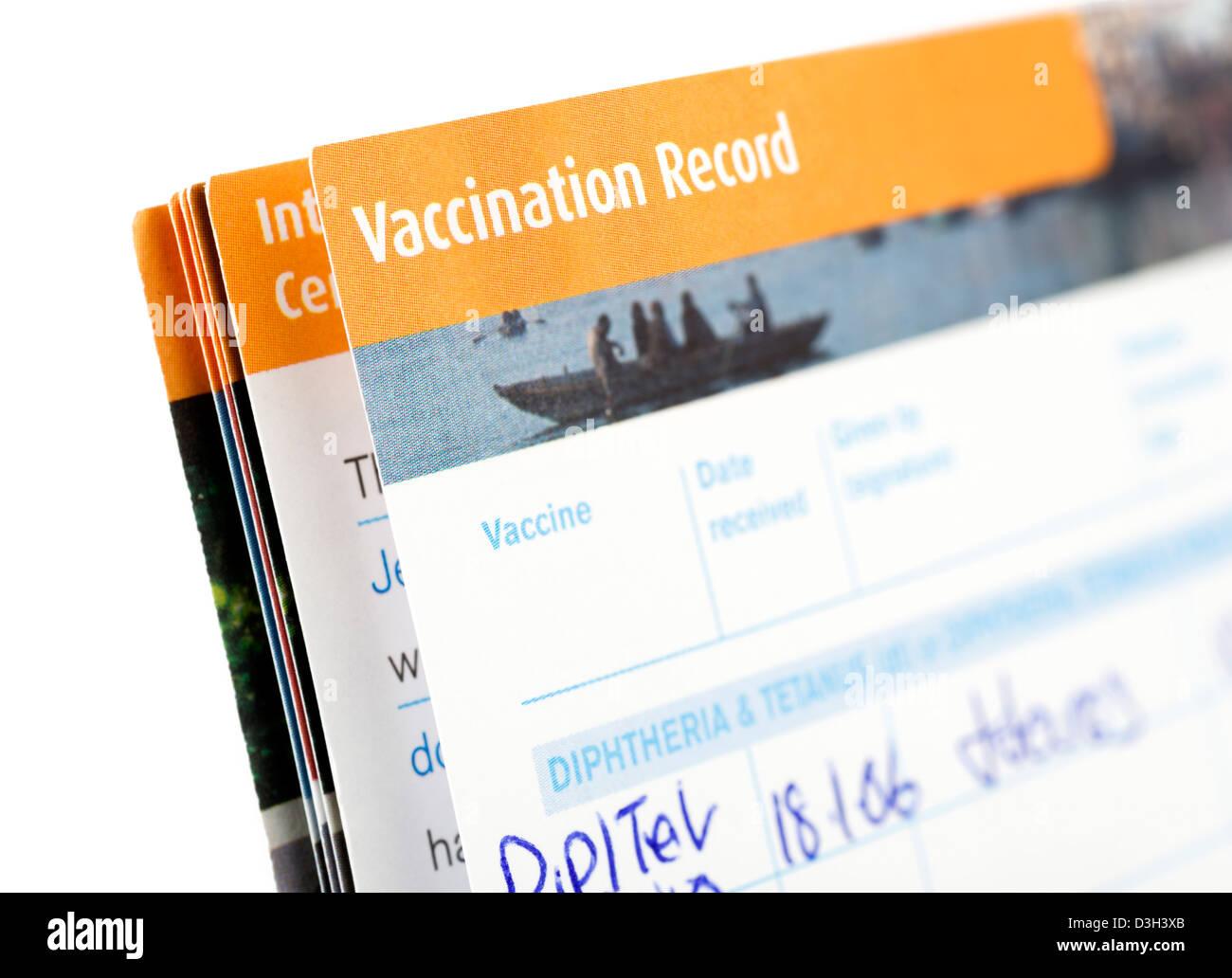 Reise Impfung Datensatz Stockbild