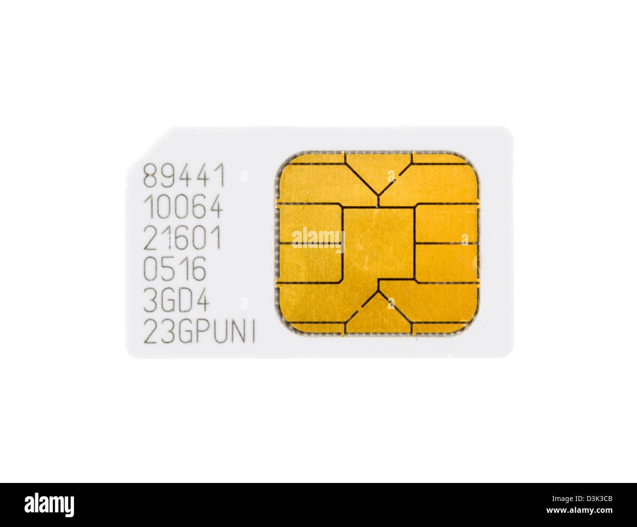 Eine SIM-Karte für ein Mobiltelefon Stockbild