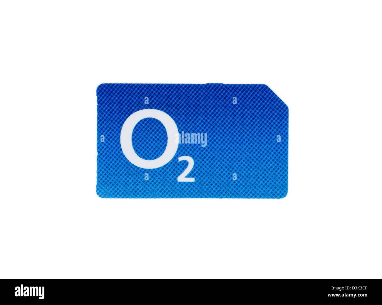 Eine O2 SIM-Karte für ein Mobiltelefon Stockbild