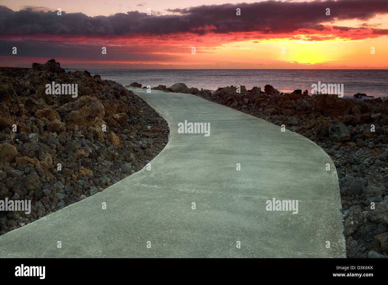 Pfad und Ozean. Der Kohala Küste, Hawaii, Big Island. Stockbild