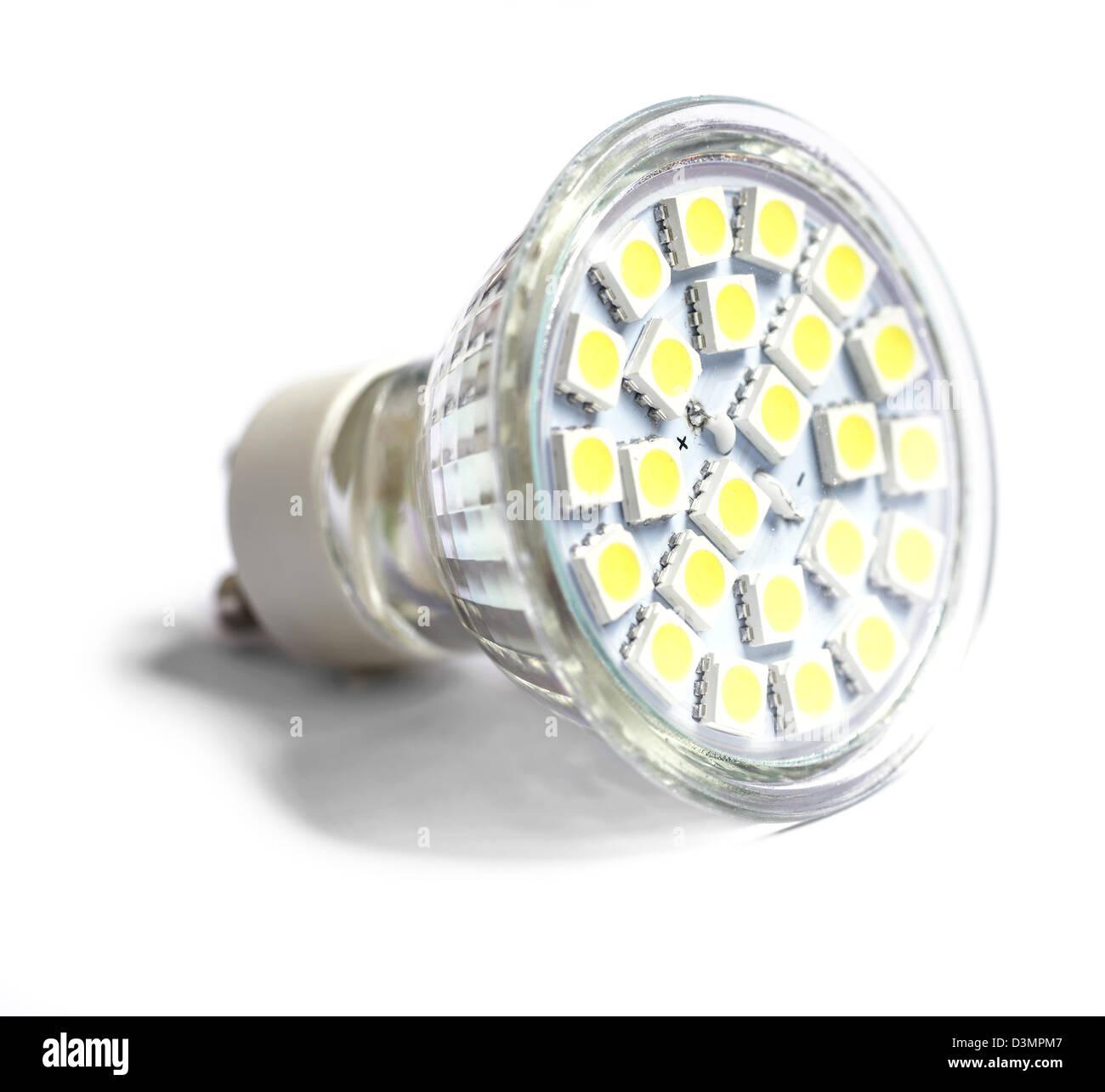 Niedrigenergie-LED-Scheinwerfer-Birne Stockbild